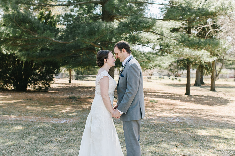 Bride and Groom in front of Pine Tree