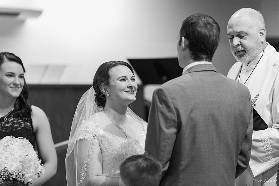 Smiles during ceremony of wedding